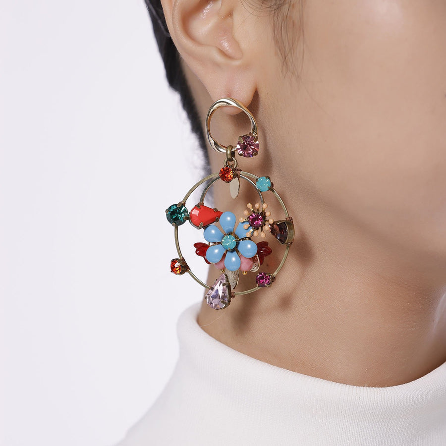 Triple Hoops Enamel Flower Statement Earrings