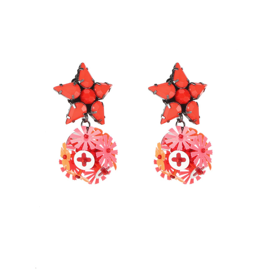 Tropical Flower Ball Statement Earrings