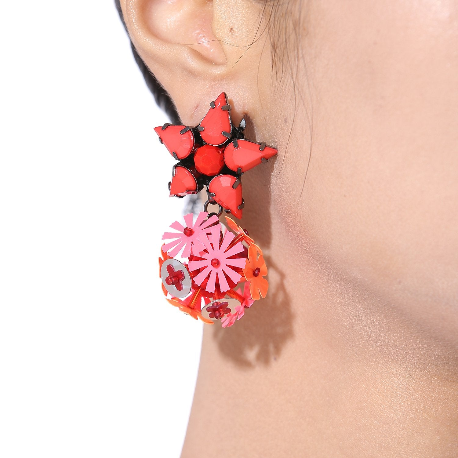 Handcrafted Flower Ball Statement Earrings