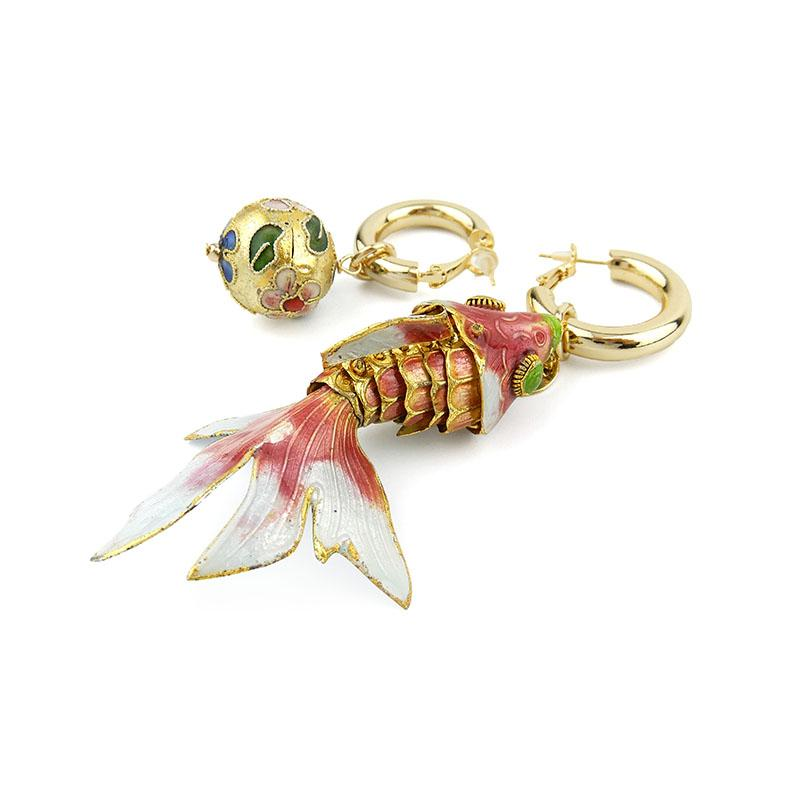 Vintage Cloisonne Articulated Asymmetrical Fish Earrings