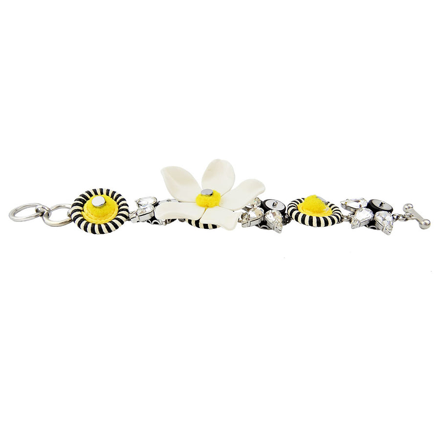 White Flower Statement Bracelet
