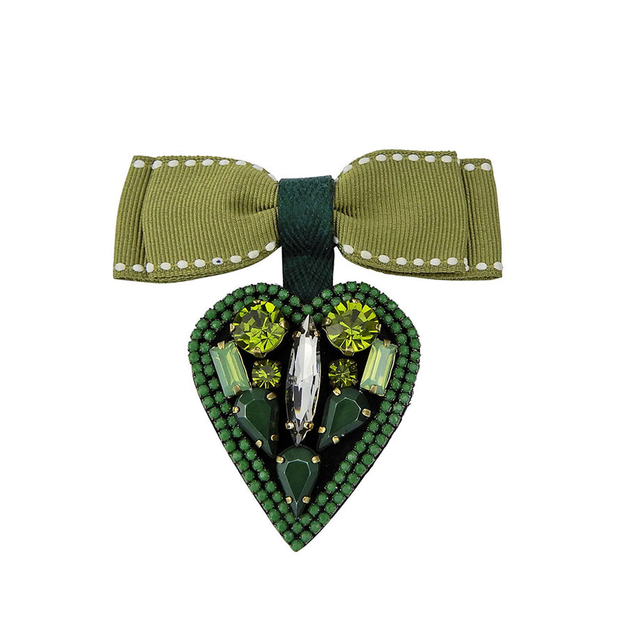 Heart Shape Brooch With Ribbon Bow