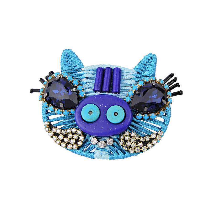 Blue Pig Brooch