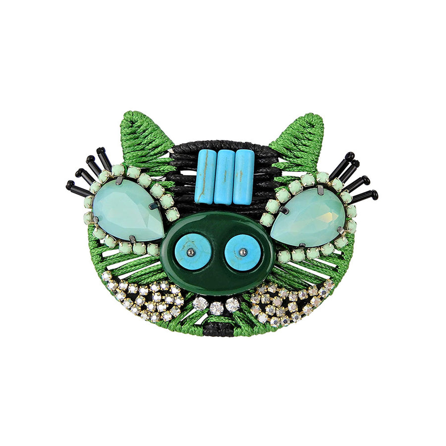 Green Pig Brooch