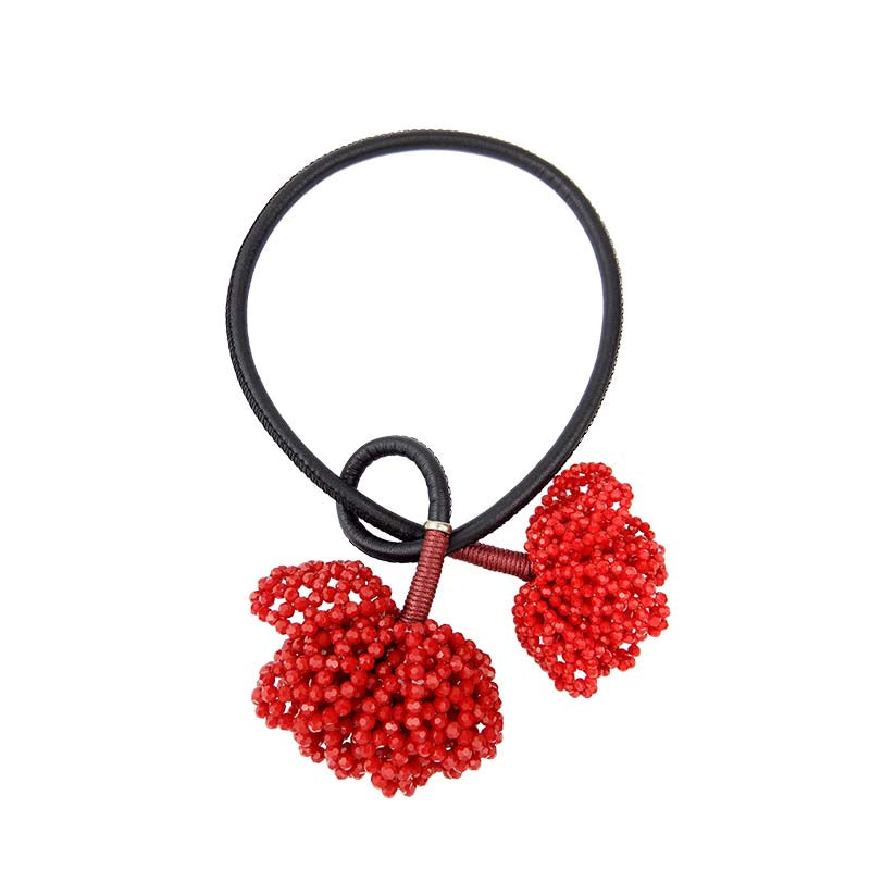 Red Flower Statement Necklace