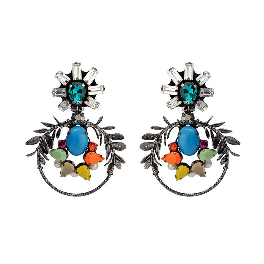 Statement Mediterranian Earrings with Olive Leaf Wreath