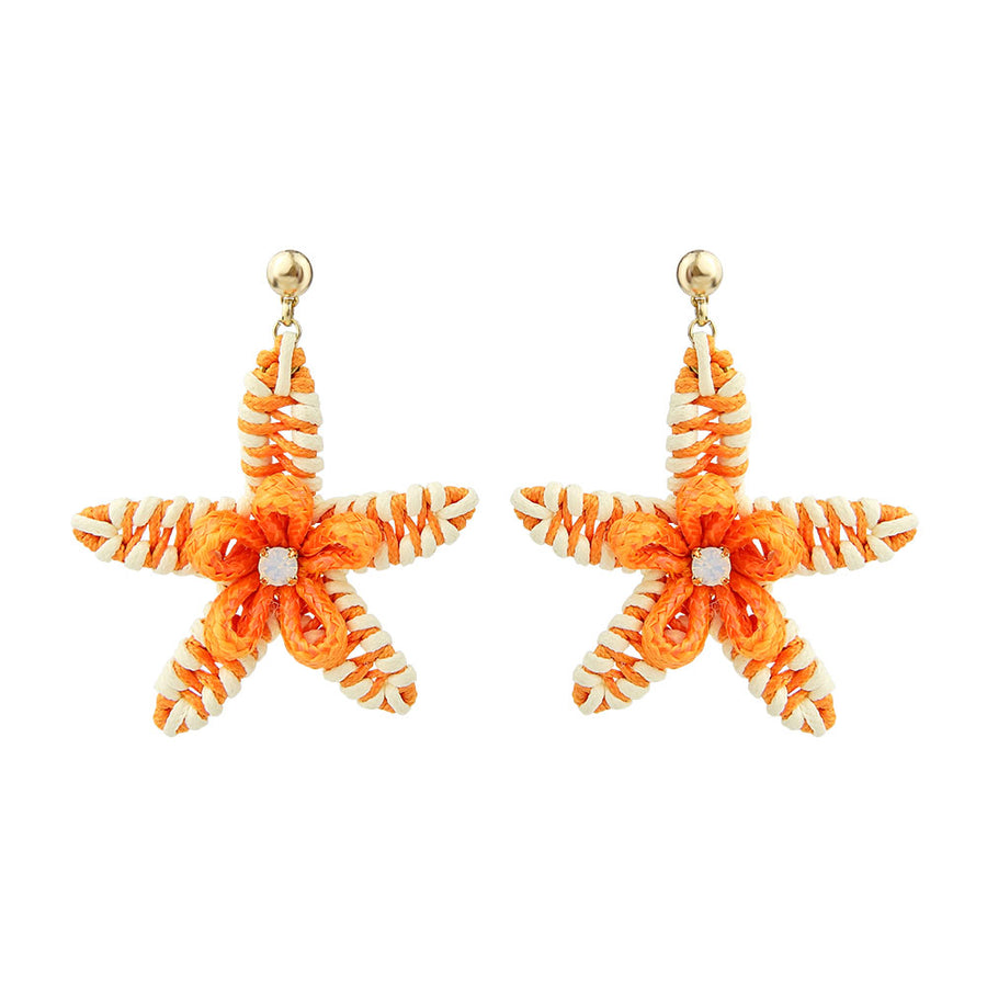 Sea Star Earrings Cords Woven