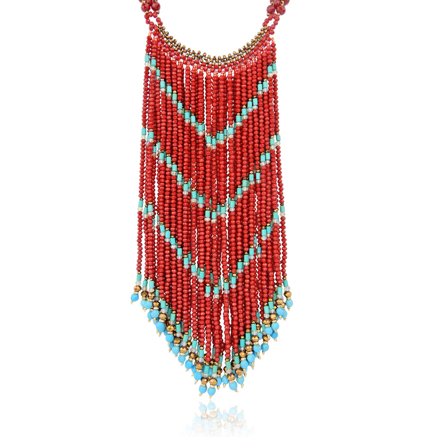 Red Ethnic Cascade Necklace