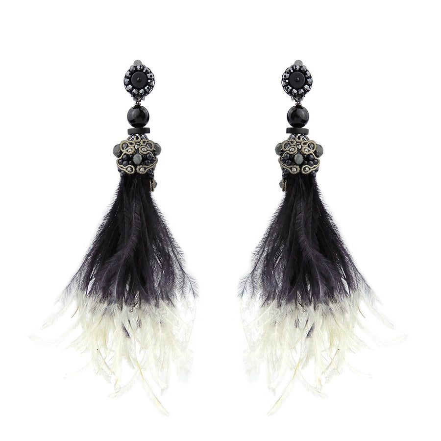 Flying Ostrich Feather Earrings