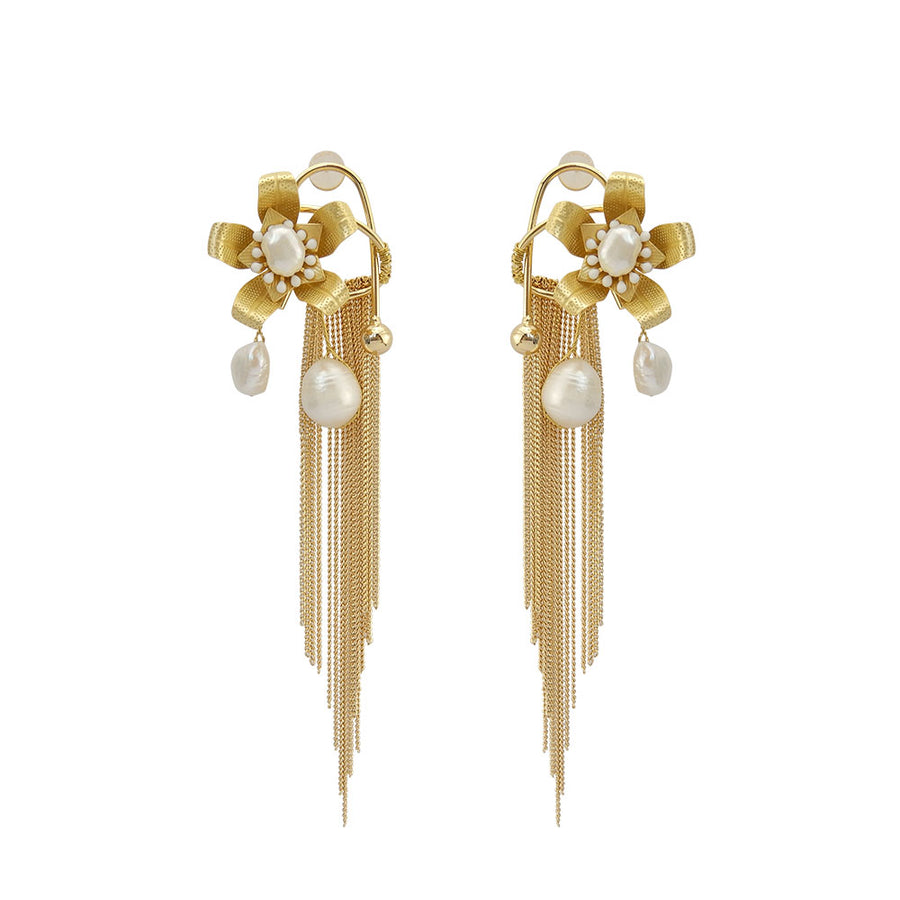 Metal Tassel And Pearl Earrings