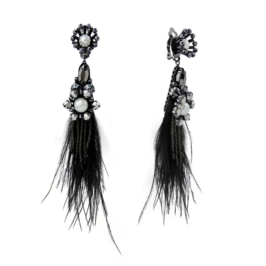 Long Black Feather Earrings