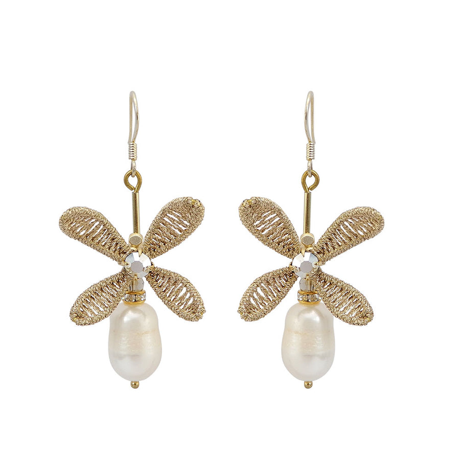 Pearl Bridal Earrings Hand Weaved