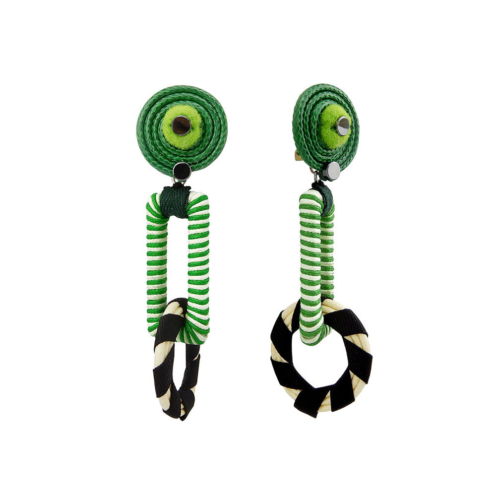 Green And Black Statement Earrings