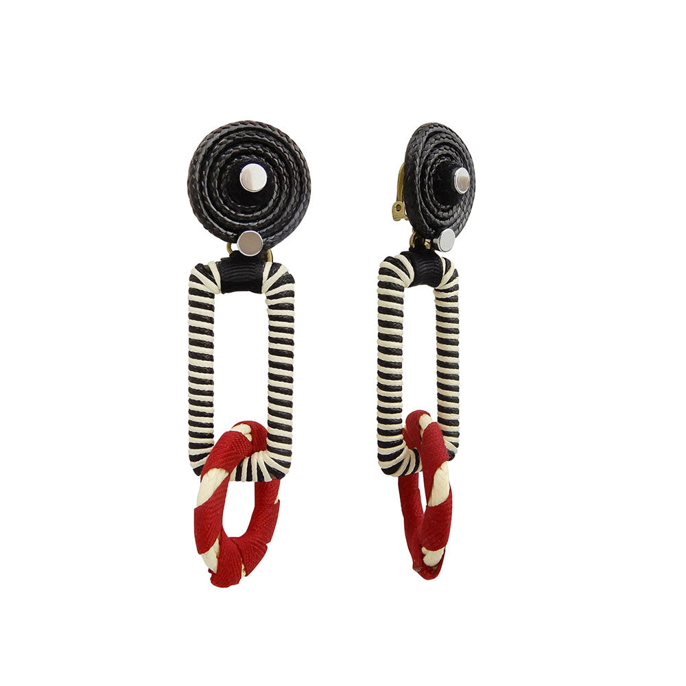 Red And Black Statement Earrings