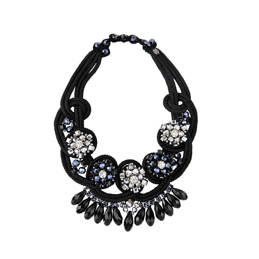 Statement Beading Necklace On Satin Ropes