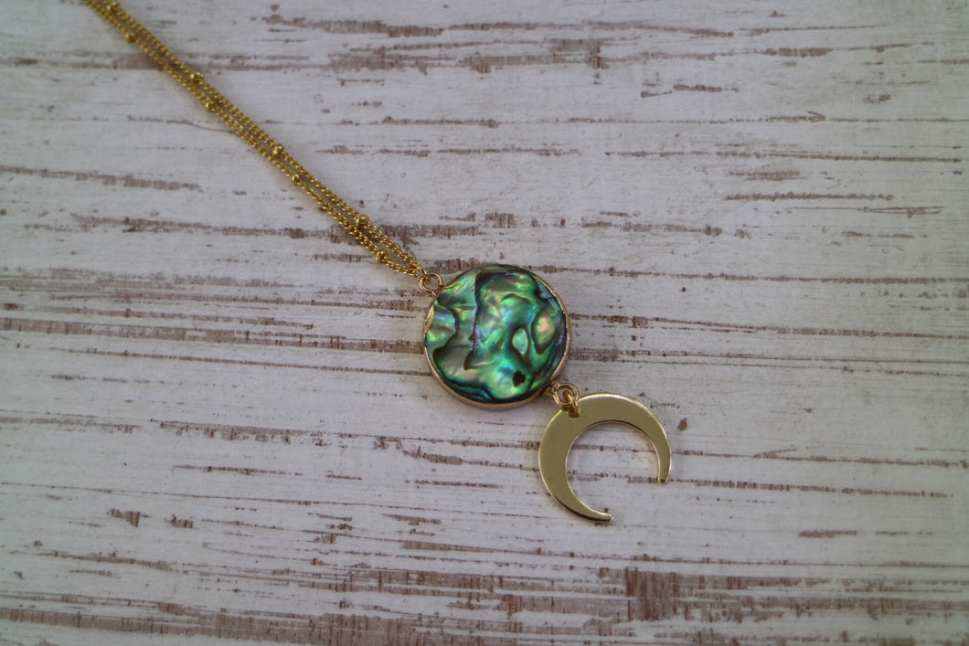 Paua Shell Gold Necklace with Moon Charm