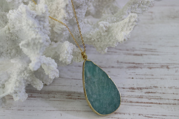 Amazonite Gemstone Gold Necklace