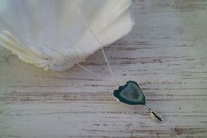 Green Geode Druzy Agate Crystal Silver Necklace with Shell Charm