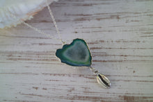 Load image into Gallery viewer, Green Geode Druzy Agate Crystal Silver Necklace with Shell Charm
