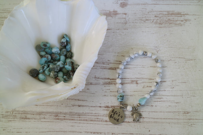 White Howlite gemstone and Larimar nugget beaded bracelet with silver 'life's a beach' and turtle charm