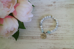 White howlite and Larimar nugget beaded bracelet with silver 'never let anyone dull your sparkle' charm
