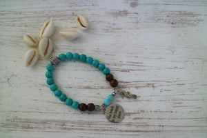 Turquoise gemstone and wood beaded bracelet with silver 'the beach is my happy place' and seahorse charms