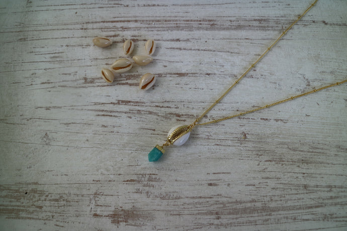 Amazonite Gemstone Gold Necklace with Cowrie Shell