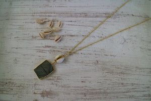 Labradorite Gemstone Gold Necklace with Cowrie Shell Connector