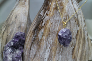 Amethyst Druzy Crystal Gold Necklace