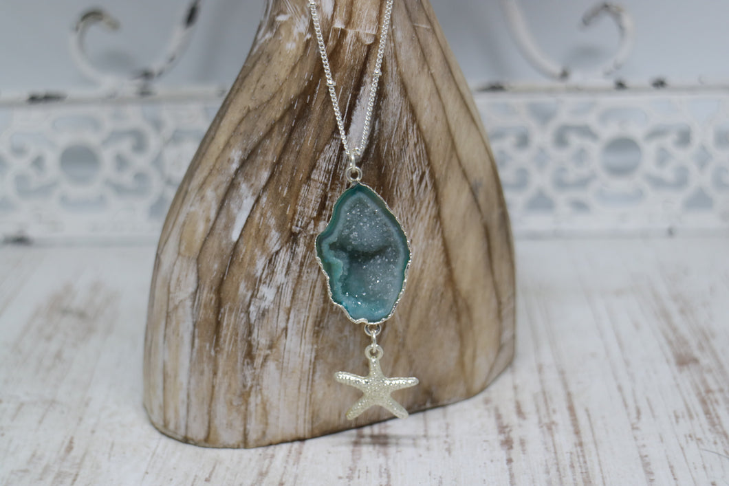 Blue Geode Druzy Agate Silver Necklace with Starfish Charm