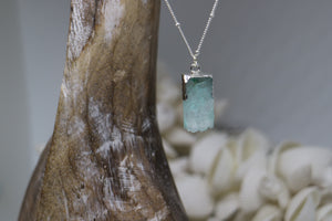 Blue Druzy Quartz Silver Necklace