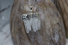 Load image into Gallery viewer, Clear Quartz Cluster Crystal Silver Necklace