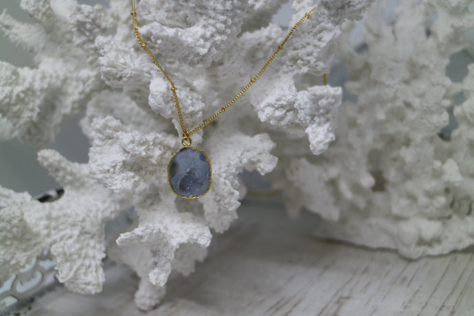 White Druzy Geode Crystal Gold Necklace