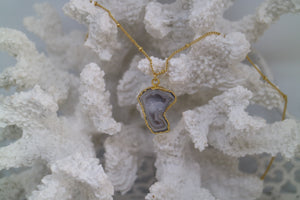 White Geode Druzy Agate Gold Necklace