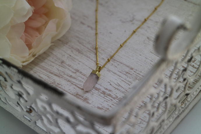 Rose Quartz Crystal Point Gold Necklace