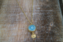 Load image into Gallery viewer, Blue Solar Quartz Crystal Gold Necklace