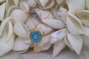 Blue Solar Quartz Crystal Gold Necklace