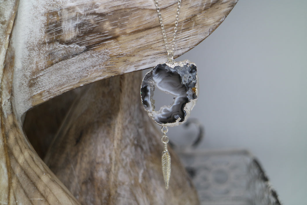 Agate Druzy Silver Necklace with Feather Charm