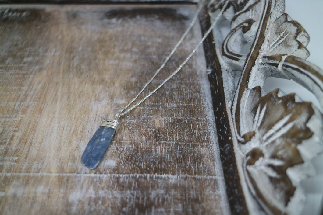 Kyanite Gemstone Silver Necklace