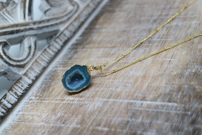 Green Geode Druzy Agate Crystal Gold Necklace