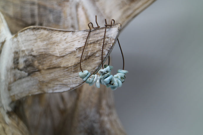 Larimar gemstone chip antique copper earrings
