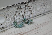 Load image into Gallery viewer, Larimar gemstone chip antique copper earrings
