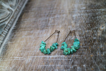 Load image into Gallery viewer, Turquoise gemstone chip antique copper earrings