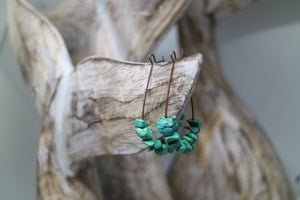 Turquoise gemstone chip antique copper earrings