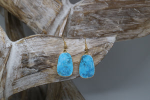 Turquoise gemstone gold earrings