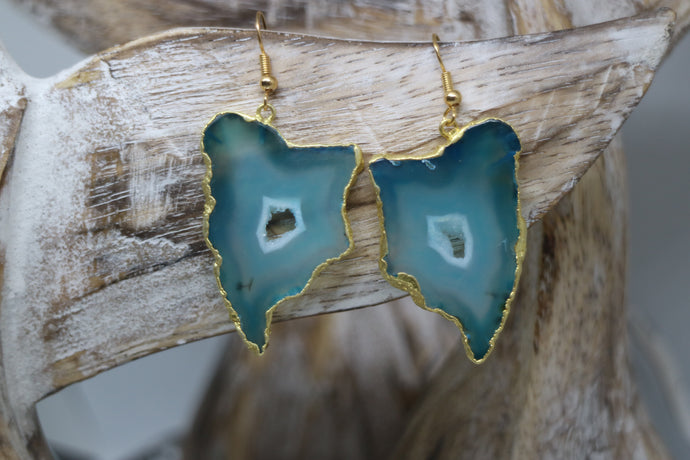 Green geode druzy agate gold earrings