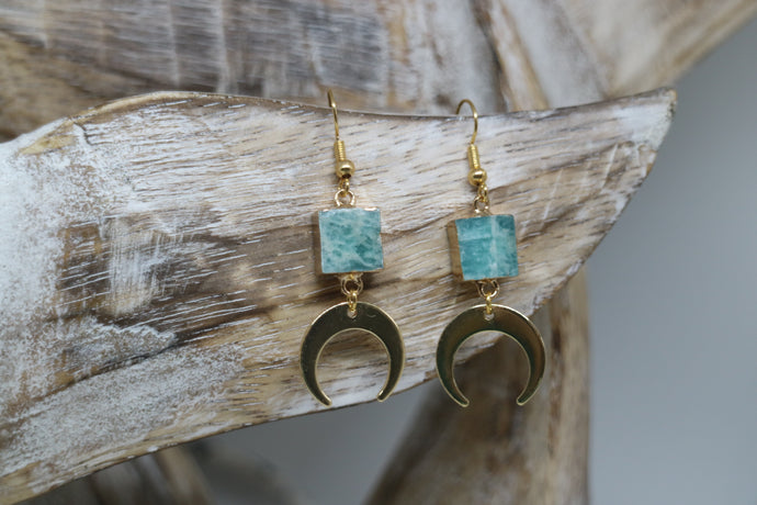 Amazonite gemstone gold earrings with 24k gold plated moon charms