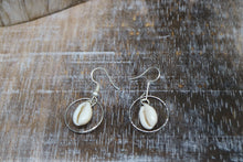 Load image into Gallery viewer, White cowrie sea shell sterling silver earrings