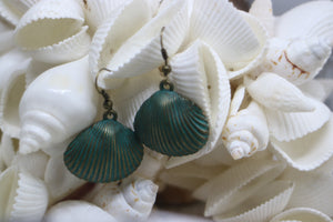 Bronze patina vintage sea shell earrings
