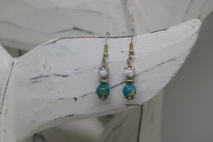 Blue sea sediment jasper and white howlite gemstone bead sterling silver earrings